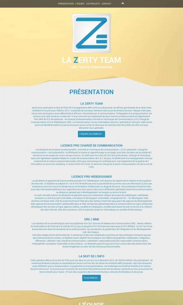 Zerty Team - Site web capture écran 1