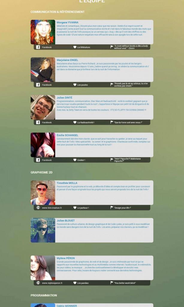Zerty Team - Site web capture écran 2